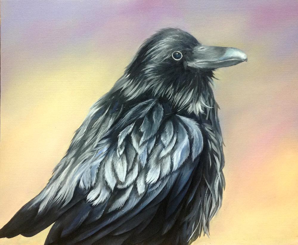 Paige Guzi, Raven Crowing. Oil painting created at Oam Studios Art Academy of Pleasanton California.