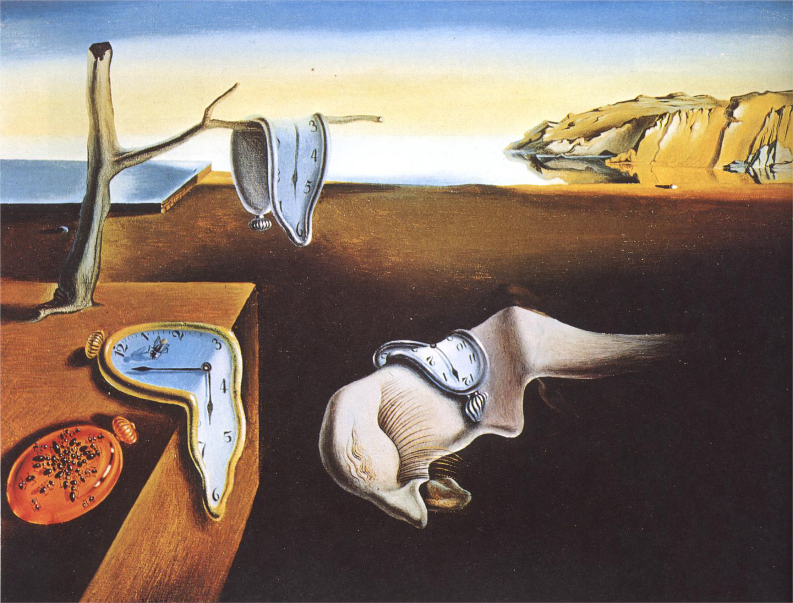 The iconic painting, by Salvador Dali, of melting clocks is depicted in this image.