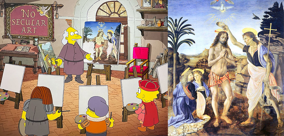 Comparison of Verrocchio's Baptism of Christ and Matt Groening's from The Simpsons