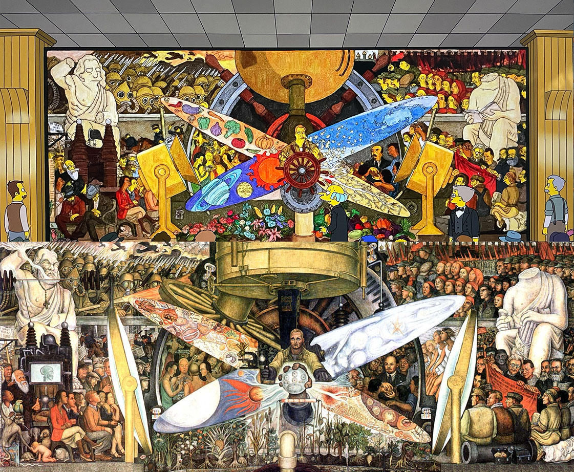 A side by side comparison of Diego Rivera's mural and Matt Groening's interpretation from the Simpson's