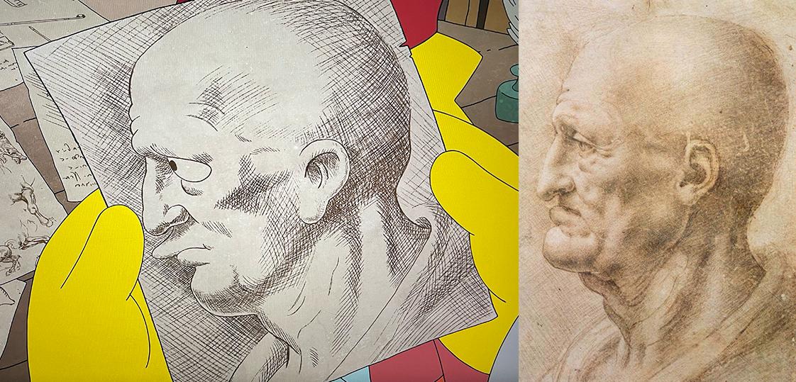 Comparison of Matt Groening's version of Leonardo Da Vinci's Profile of an Old Man.