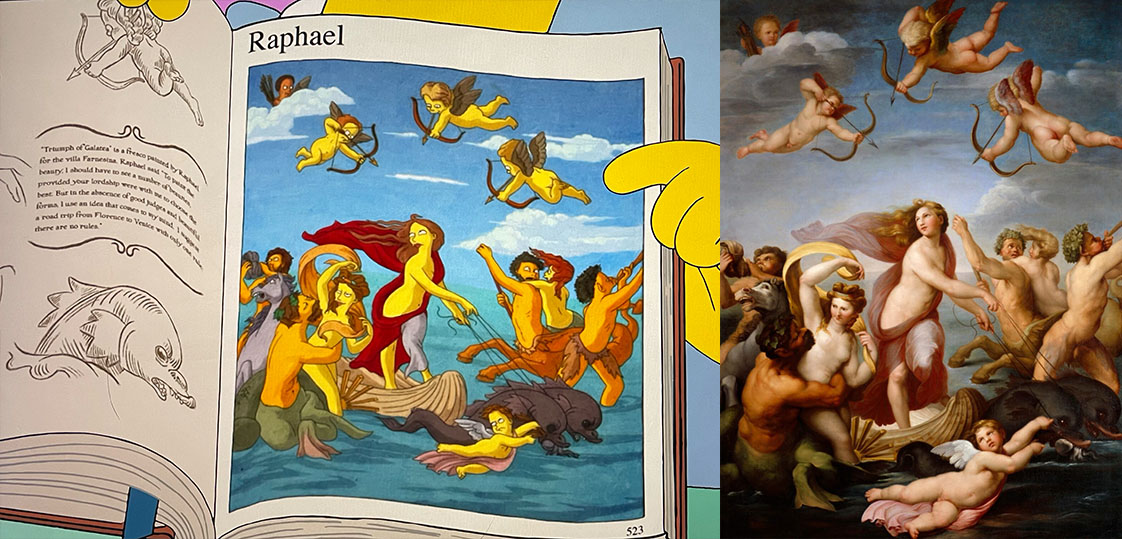 Comparison of The Simpsons Triumph of Galatea and that which was painted by Raphael